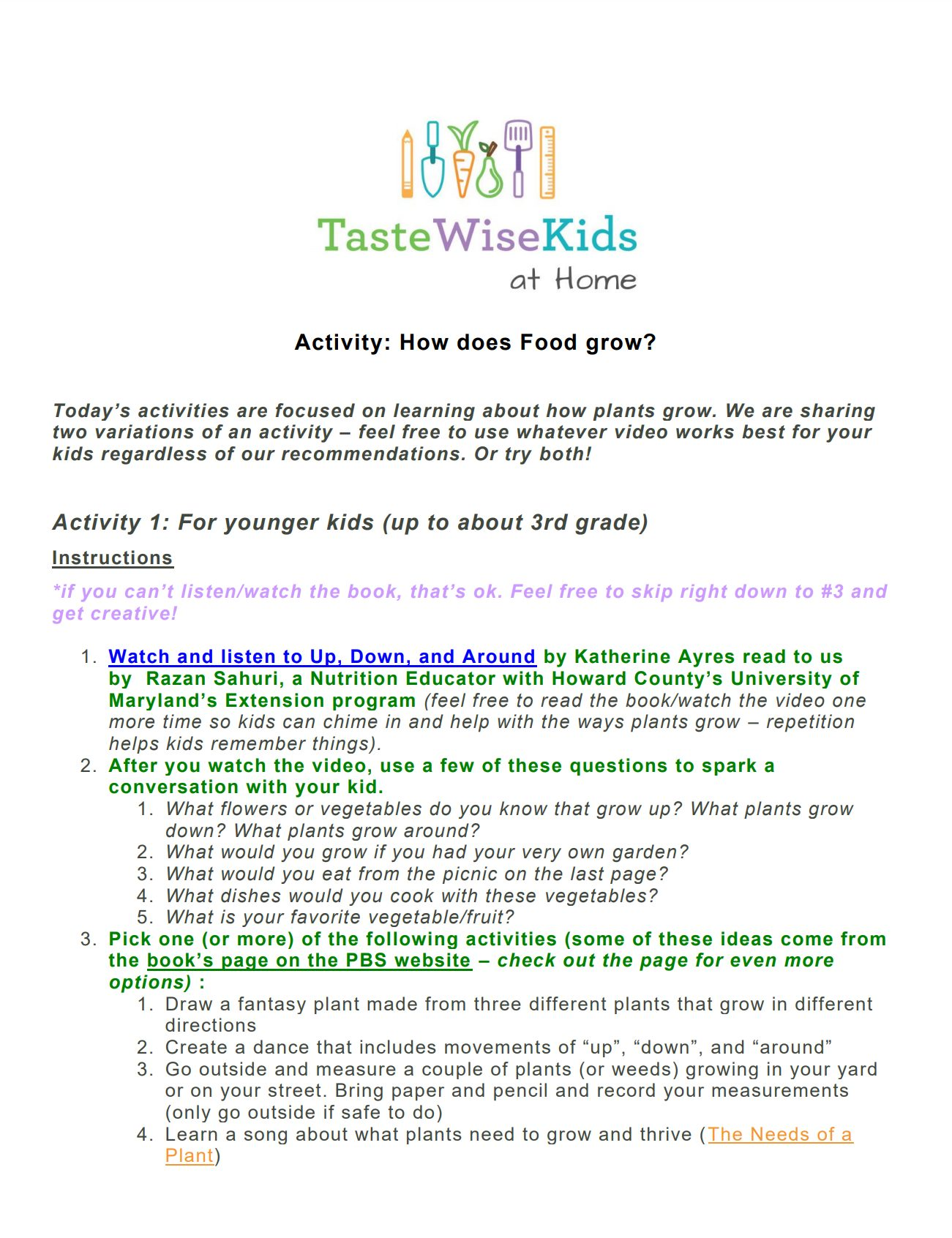 How Does Food Grow Activity Sheet