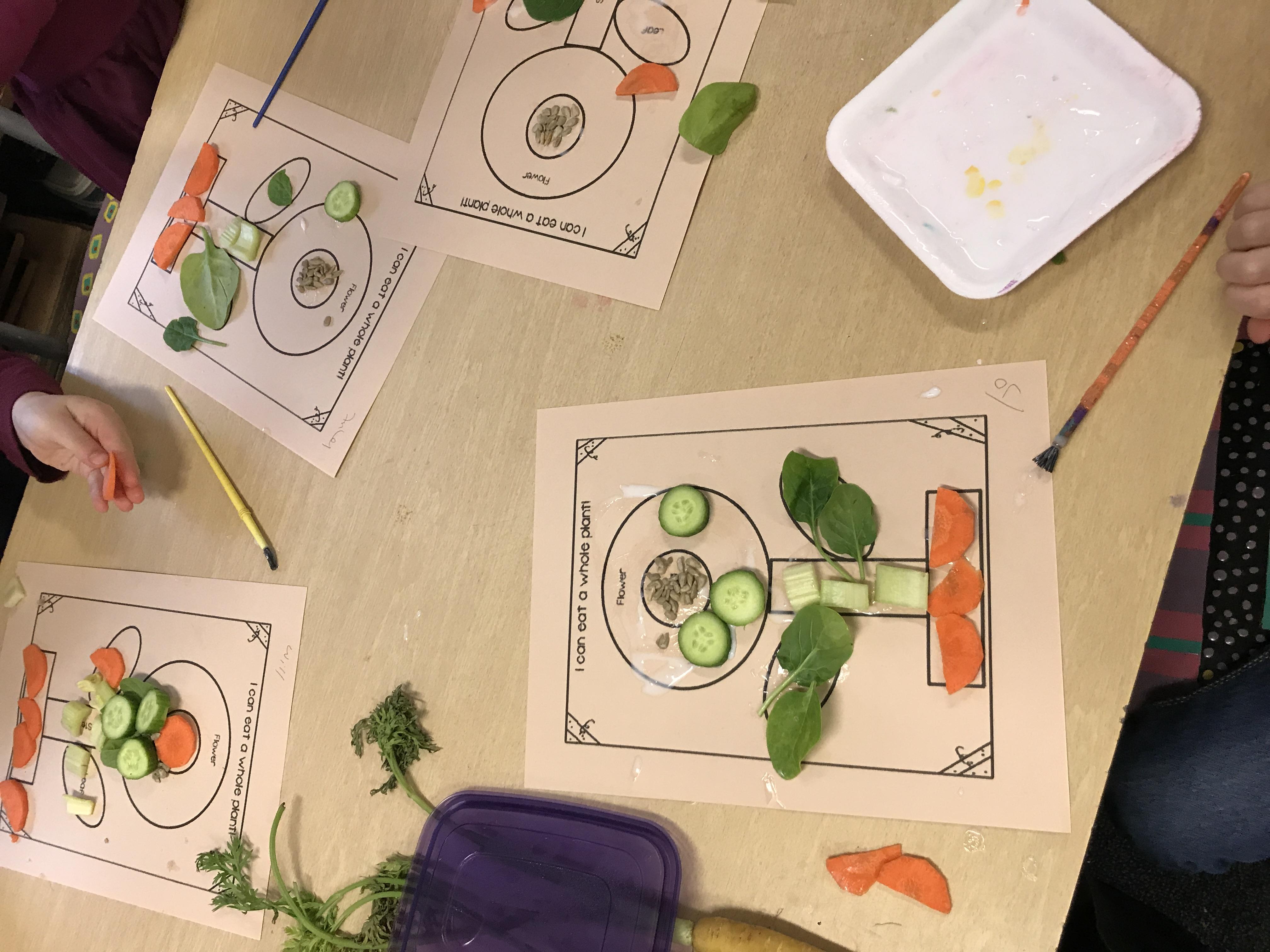 kids art work using cut up vegetables