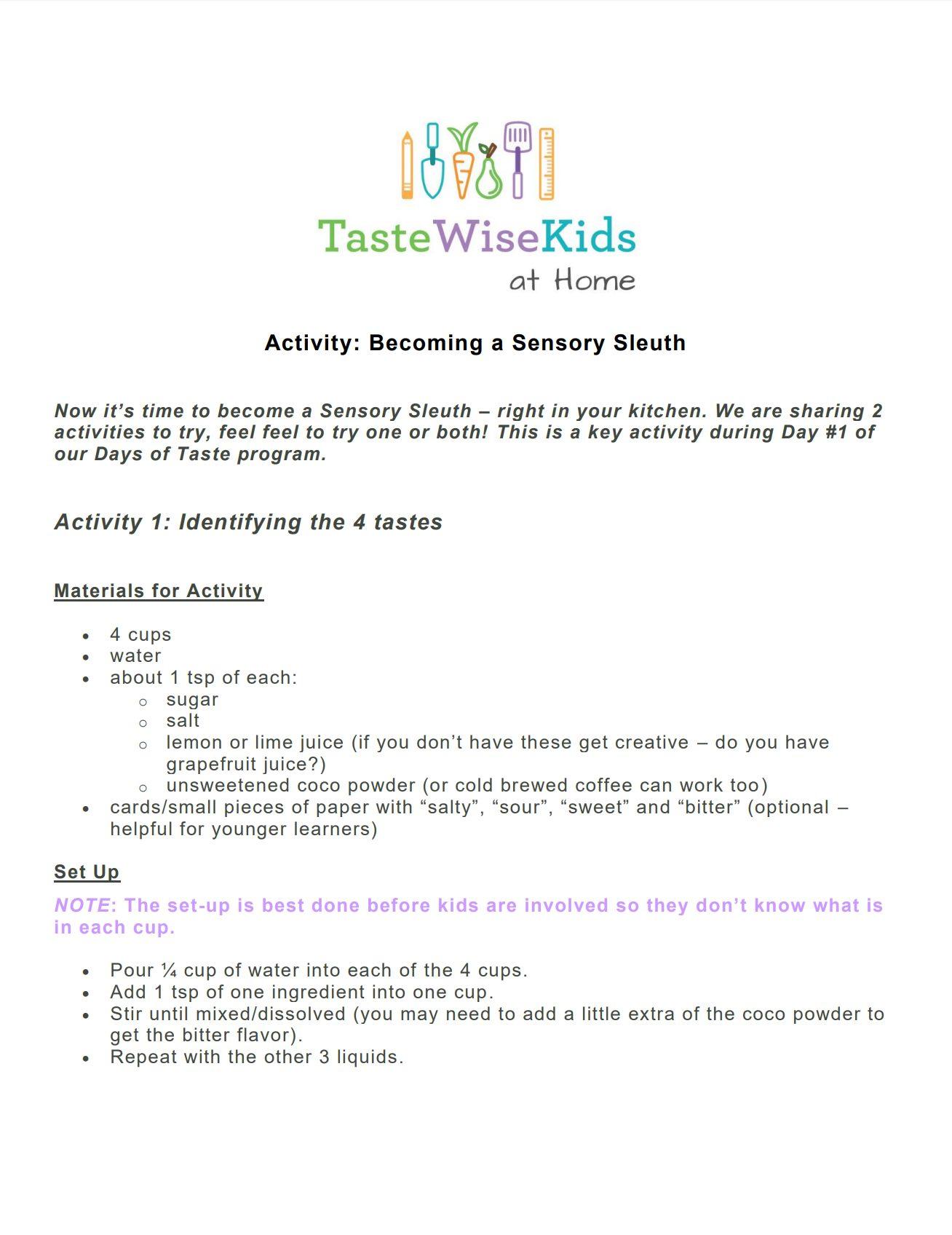 Sensory Sleuth Activity Printable Version
